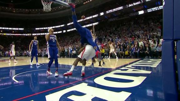 Embiid called for goaltending, collides with Harden