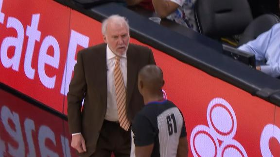 Popovich upset with refs no call, gets tossed
