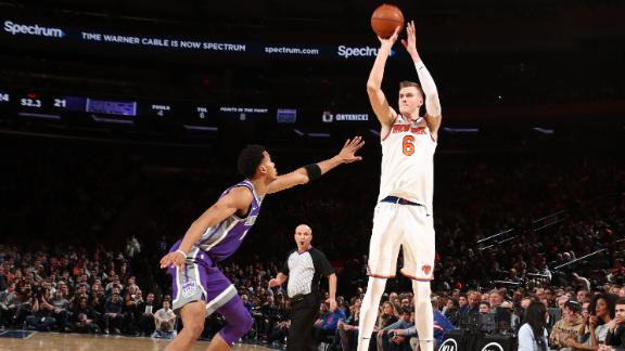 Knicks rout Kings behind Porzingis' 34
