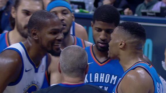 Durant y Westbrook se calienta en la duela