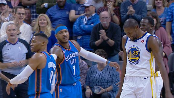 Westbrook, Durant exchange words after Green foul