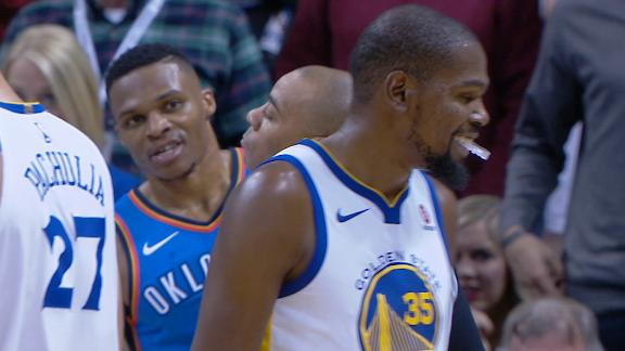 Westbrook takes it to Durant, Warriors