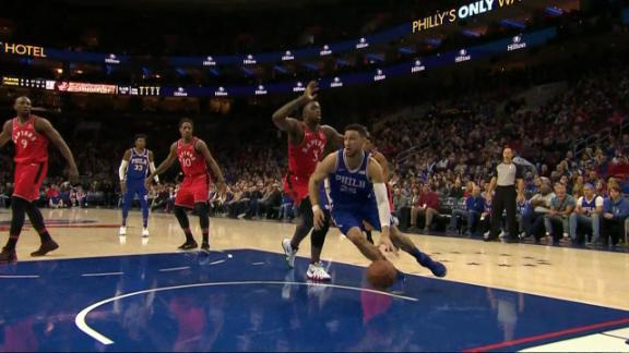 Embiid feeds Simmons for the slam