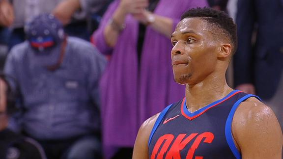 Westbrook eyes Embiid, Sixers' bench as time expires