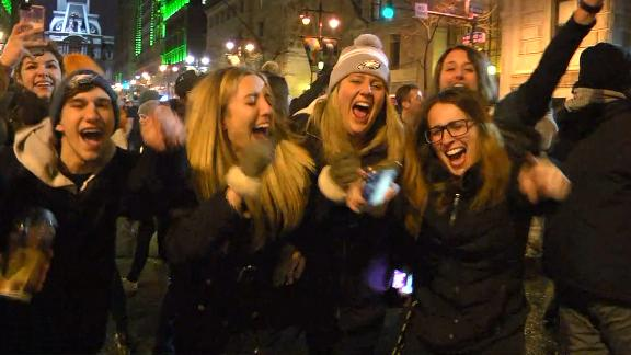 Eagles fans celebrate on the streets of Philly.