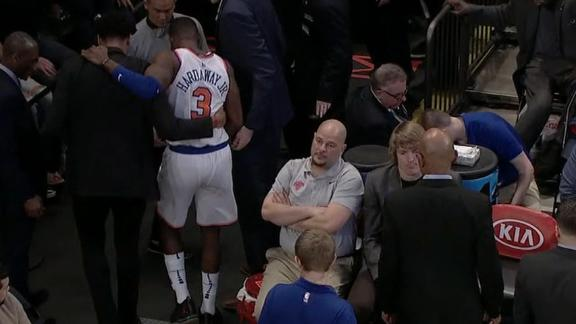 Kristaps Porzingis helped off court after apparent leg injury