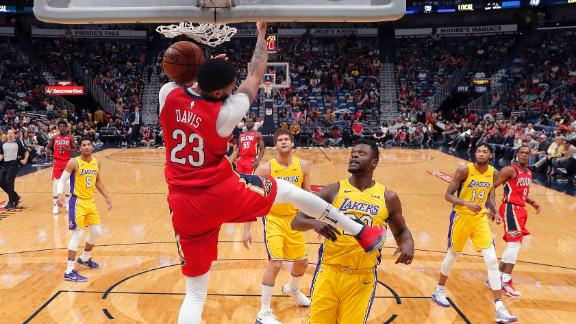 Davis shines, three ejected in Pelicans' rout of Lakers