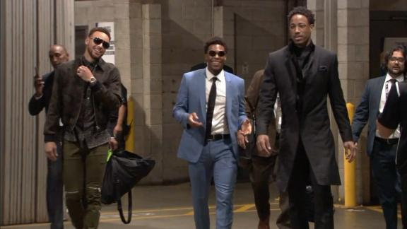 Curry, Lowry and DeRozan arrive to Staples Center