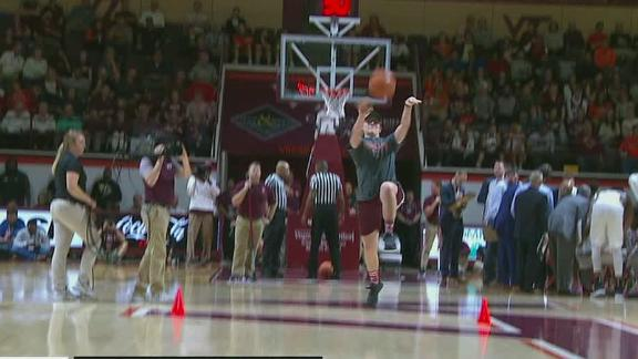 Virginia Tech student drains half-court shot