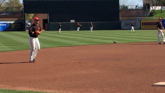 Longoria takes grounders at third base