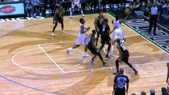 Harden dribbles around Bucks for and-1 layup