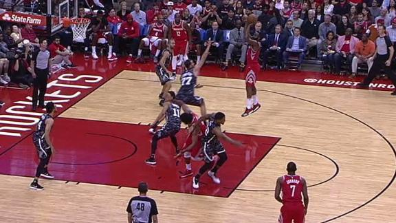 Harden knocks down step-back jumper
