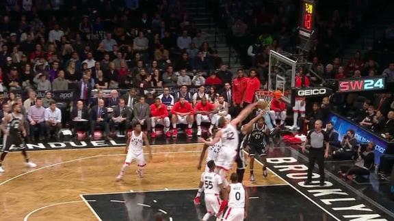 Poeltl shows off athleticism with block