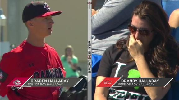 Halladay's son throws scoreless inning