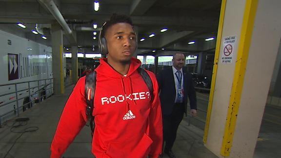 Mitchell dons 'Rookie?' hoodie