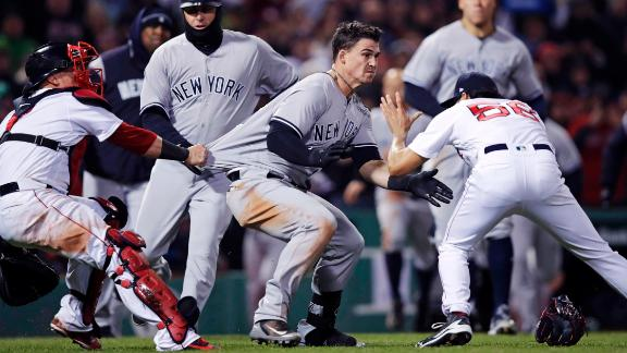 Benches Clear Twice In Red Sox Yankees 3 Players 1 Coach Ejected