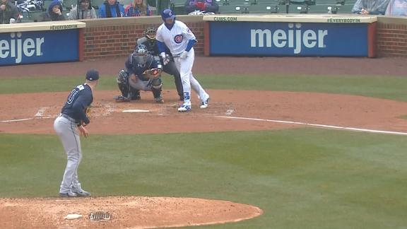Almora's bat flip almost inflicts pain on catcher, umpire
