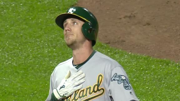Piscotty hits homer, looks to sky to honor mother