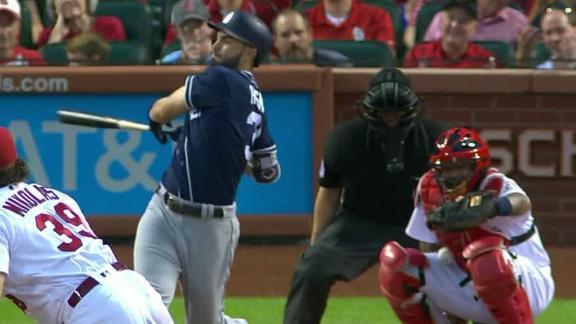 Molina catches third strike on thigh