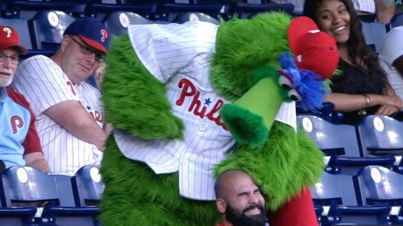 Phillie Phanatic has some fun with the fans