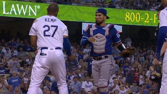Scuffle ensues after Kemp barrels over Chirinos