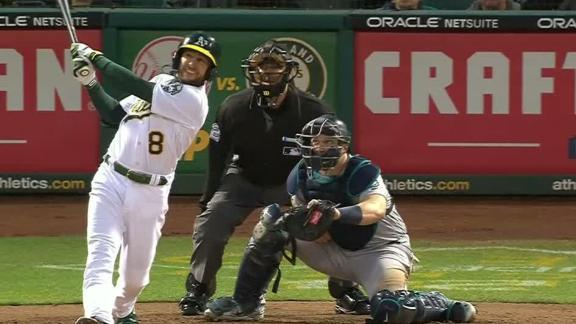 Lowrie belts two-run homer