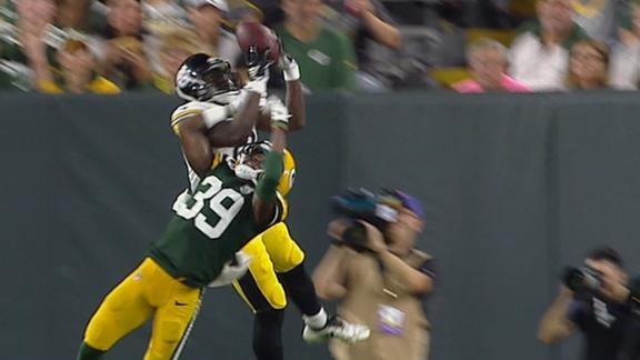 Steelers' Washington makes leaping TD catch over defender