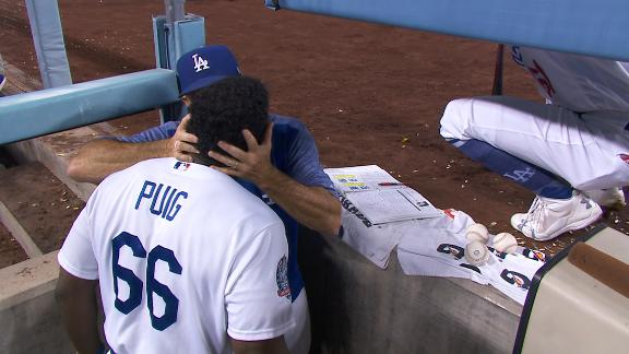 Puig smokes homer to center, gets kiss from coach