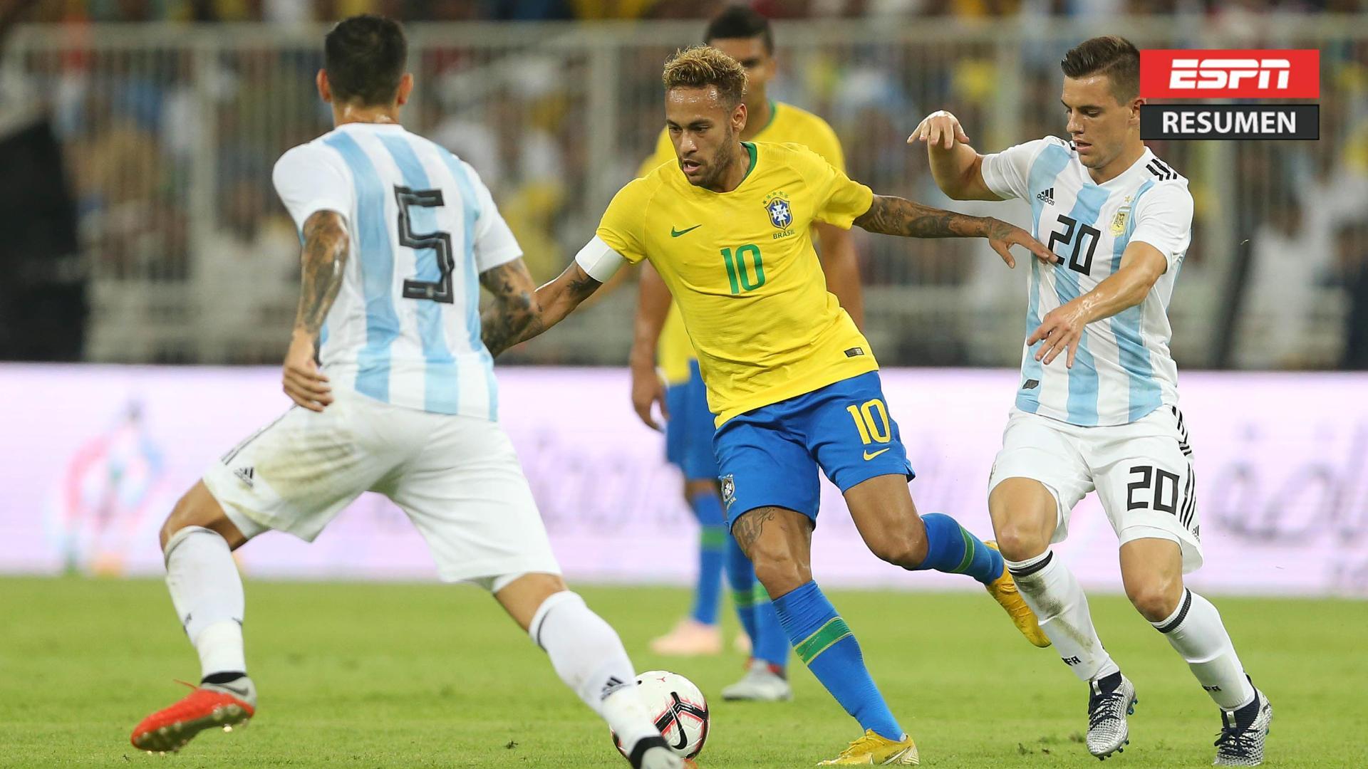 Brasil le ganó 1-0 a Argentina sobre la hora