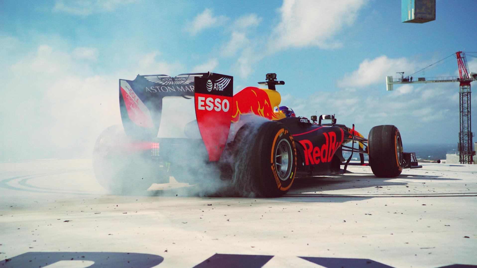 Red Bull F Team Reaches New Heights With Skysc R Burnout