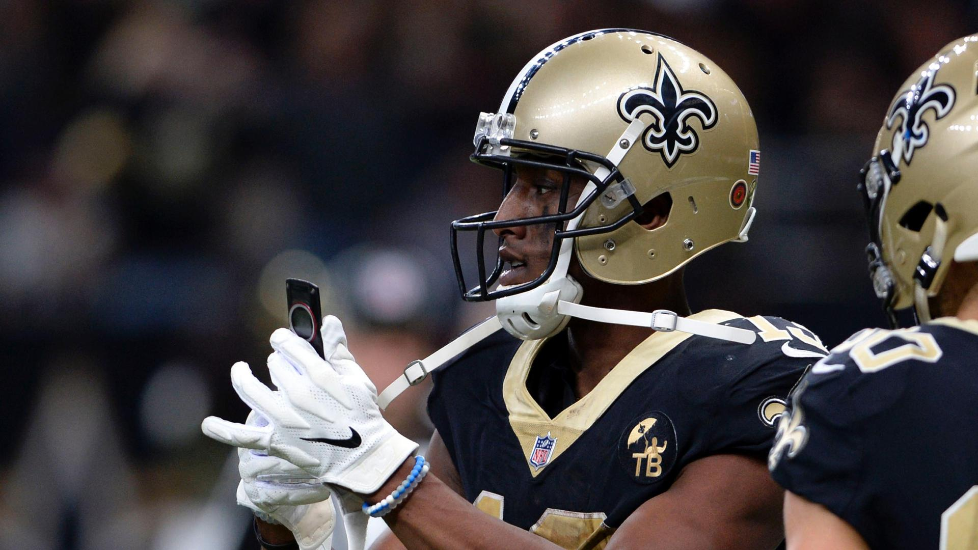 Saints Thomas Pulls Out Cellphone After Big Td