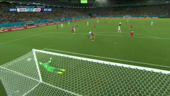 Asamoah Gyan (Ghana) Shot On Target at 58'