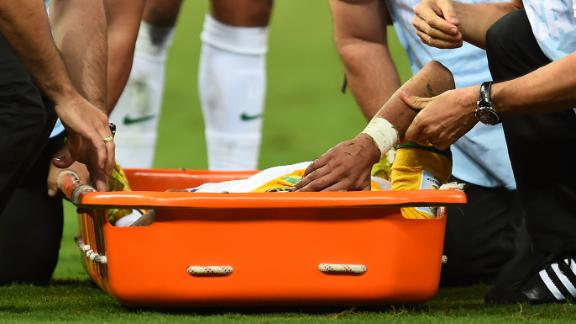Neymar stretchered off in second half