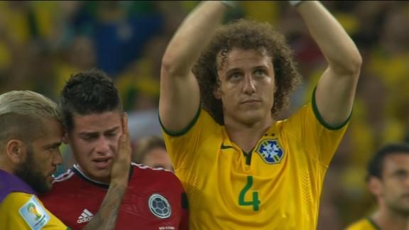 Luiz applauds fans and Rodriguez