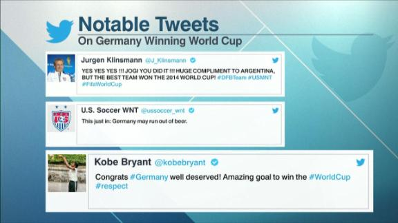 Germany receive congratulations on Twitter