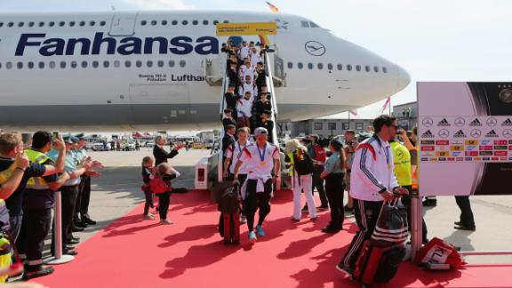 Germany return from World Cup triumph