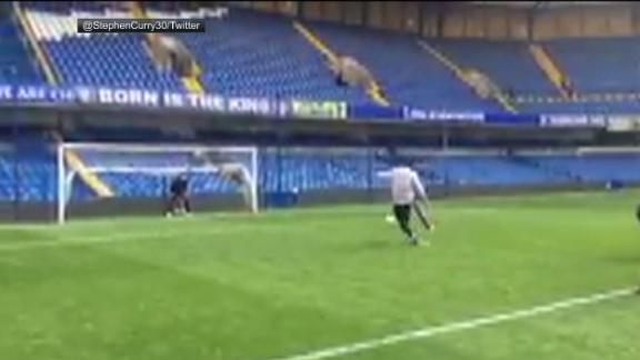WATCH: Steph Curry scores penalty at Stamford Bridge