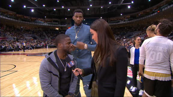 Drummond busts a move behind Kevin Hart
