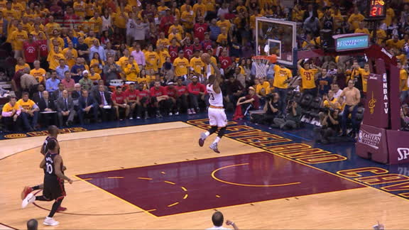 LeBron steals and jams
