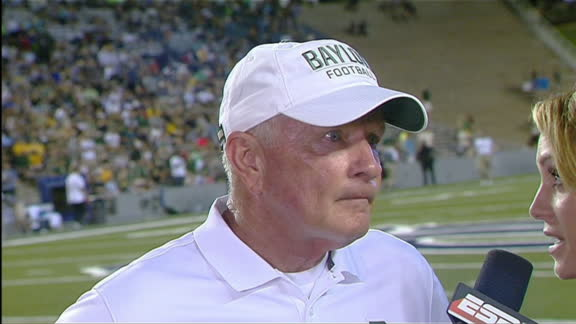 Baylor Head Coach Jim Grobe halftime interview - ESPN ...