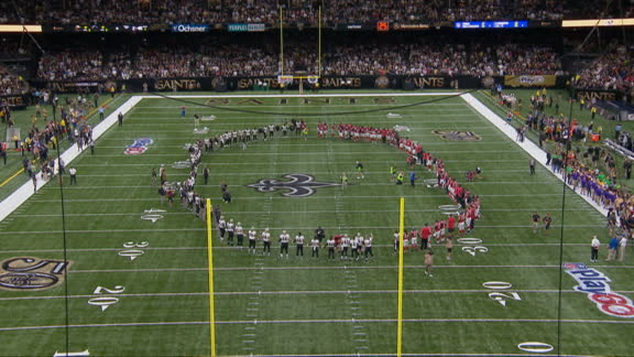 Saints, Falcons join hands in circle of unity after national anthem