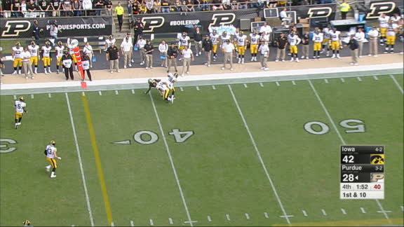 King takes pick-six 40 yards to the house for Iowa
