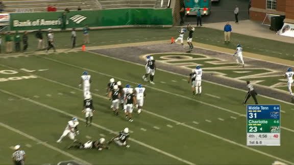 Charlotte WR makes tip toe TD grab to bring 49ers within 2