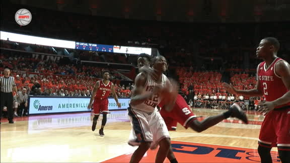 Black gets the rebound and-1 pushing Illinois over NC State