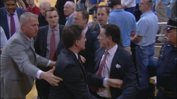 Pitino gets into shouting match heading to locker room