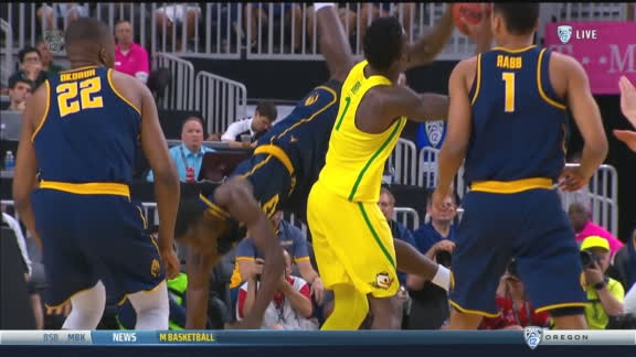 Cal's Jabari Bird lands on his head