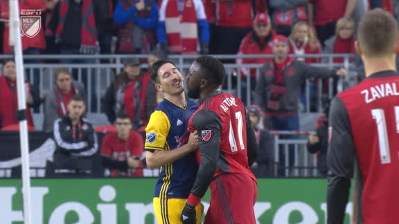 WATCH: Altidore clashes with Adams, Kljestan after foul