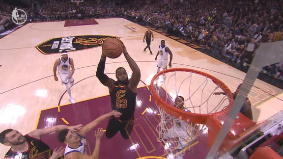 LeBron passes off glass to himself for massive dunk