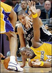 Shaquille O'Neal and Tim Duncan