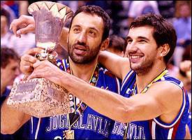 Vlade Divac and Peja Stojakovic